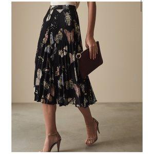 Reiss Sarah Butterfly Printed Midi Skirt - pleated